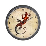 Fire Red Gecko Wall Clock