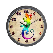 Rainbow Gecko Wall Clock