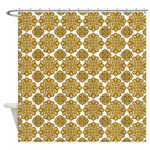 Gold And White Floral Shower Curtain