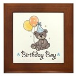 Birthday Boy Party Bear Framed Tile