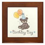 Birthday Boy Party Bear Framed Tile