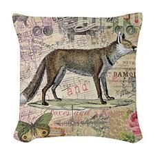 Fox Vintage Animal Foxy Gift Woven Throw Pillow