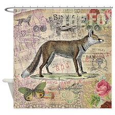 Fox Vintage Animal Foxy Gift Shower Curtain