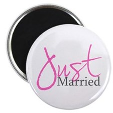 "Just Married (Pink Script) 2.25"" Magnet (10 pack)"