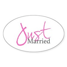 Just Married (Pink Script) Oval Decal