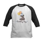 Birthday Boy Party Bear Kids Black Baseball Jersey