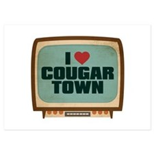 Retro I Heart Cougar Town Invitations