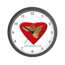 I Love Guppies Wall Clock