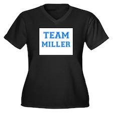 TEAM MILLER Women's Plus Size V-Neck Dark T-Shirt