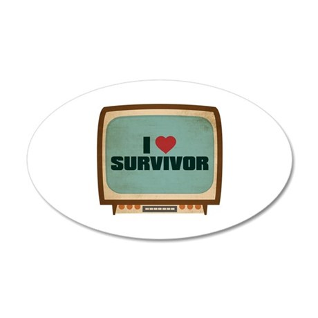 Retro I Heart Survivor 22x14 Oval Wall Peel