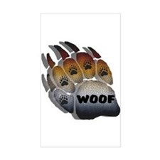 wOOF FURRY BEAR PRIDE PAW Rectangle Decal