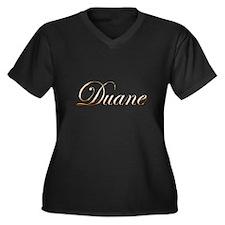 Gold Duane Women's Plus Size V-Neck Dark T-Shirt