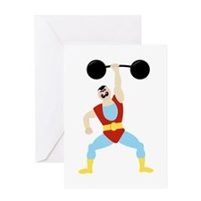 Weight Lifter Greeting Cards