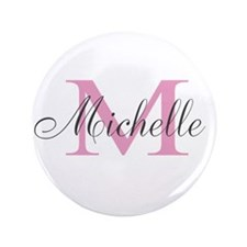 """Personalized pink monogram 3.5"""" Button"""