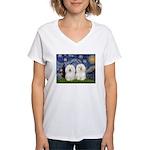 Starry Night / 2 Bolognese Women's V-Neck T-Shirt