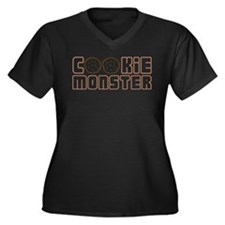 Cookie Monster Women's Plus Size V-Neck Dark T-Shi