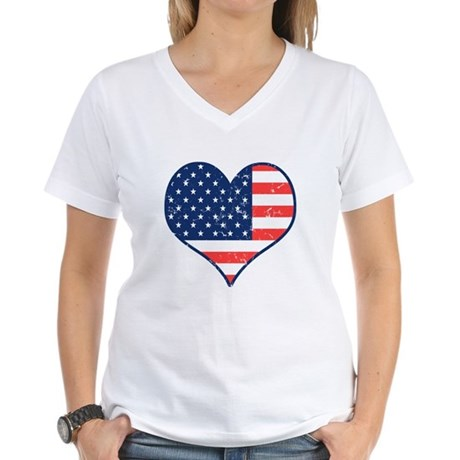 Patriotic Heart with Flag Women's V-Neck T-Shirt