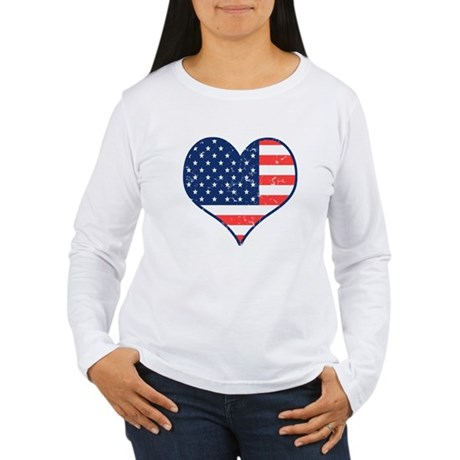 Patriotic Heart with Flag Women's Long Sleeve Tee