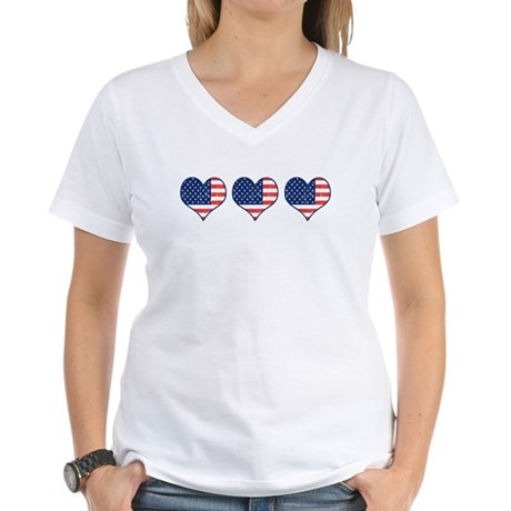 Little Patriotic Hearts Women's V-Neck T-Shirt