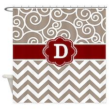 Tan Red Damask Chevron Monogram Shower Curtain