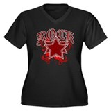 Royal Rock Star Women's Plus Size V-Neck Dark T-Sh