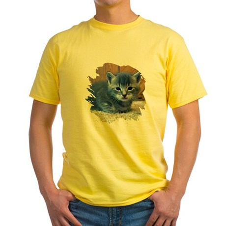 Grey Kitten Yellow T-Shirt