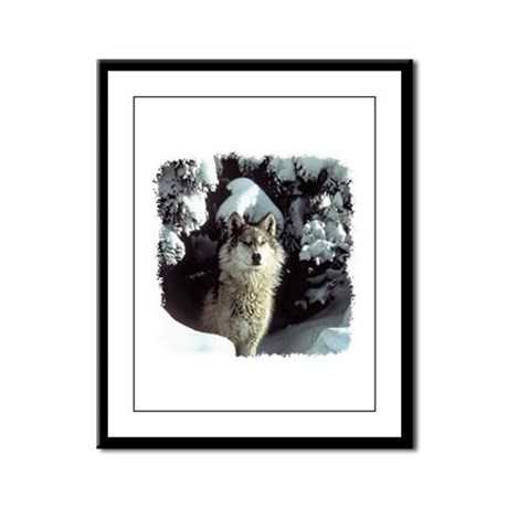 Winter Wolf Framed Panel Print