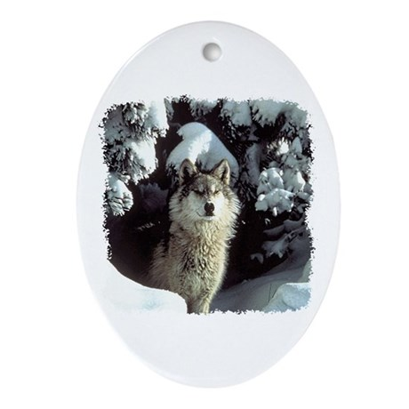 Winter Wolf Oval Ornament