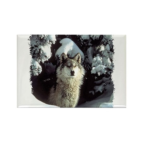 Winter Wolf Rectangle Magnet (100 pack)