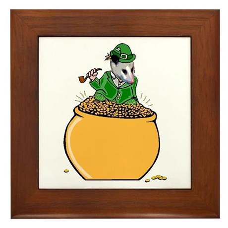 Possum Leprechaun Framed Tile