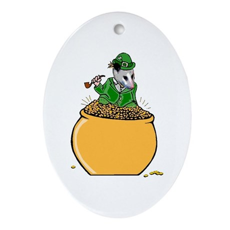 Possum Leprechaun Oval Ornament