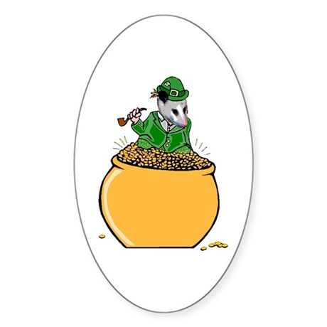 Possum Leprechaun Oval Sticker