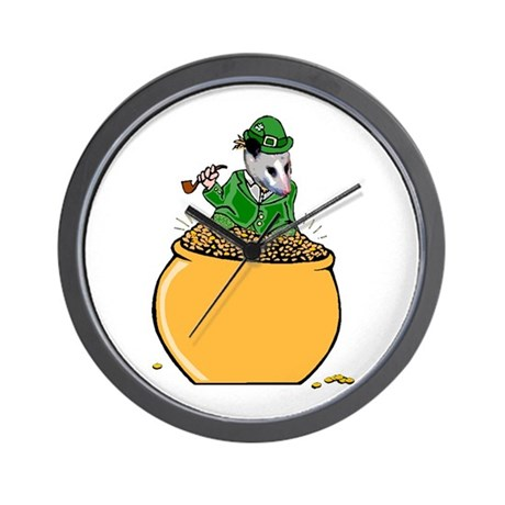 Possum Leprechaun Wall Clock