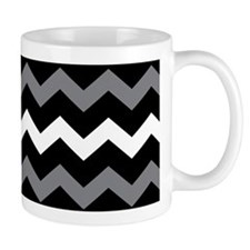 Black Gray And White Chevron Mugs