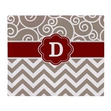 Beige Red Swirls Chevron Monogram Throw Blanket