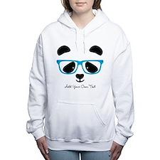 Cute Panda Blue Women's Hooded Sweatshirt