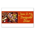 Jesus Designated Driver Rectangle Sticker