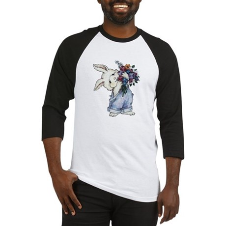 Bunny with Flowers Baseball Jersey