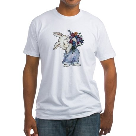 Bunny with Flowers Fitted T-Shirt