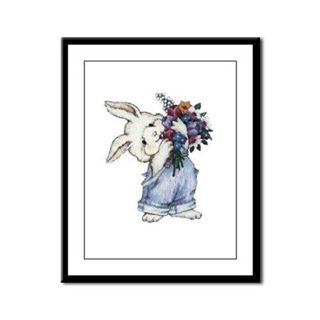 Bunny with Flowers Framed Panel Print