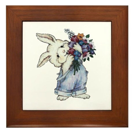 Bunny with Flowers Framed Tile