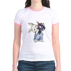 Bunny with Flowers Jr. Ringer T-Shirt
