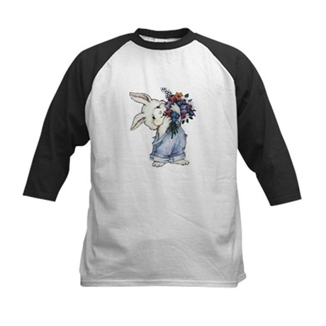 Bunny with Flowers Kids Baseball Jersey