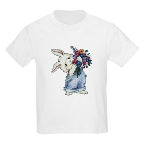 Bunny with Flowers Kids Light T-Shirt