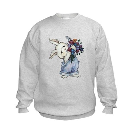 Bunny with Flowers Kids Sweatshirt