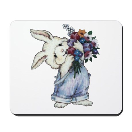 Bunny with Flowers Mousepad