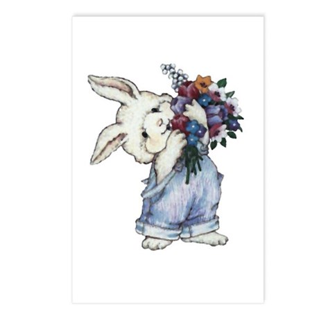 Bunny with Flowers Postcards (Package of 8)
