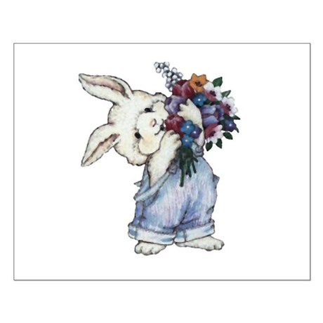 Bunny with Flowers Small Poster