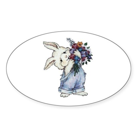 Bunny with Flowers Oval Sticker