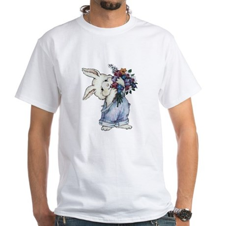 Bunny with Flowers White T-Shirt